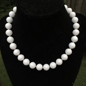 "Vintage 16"" white stone necklace"